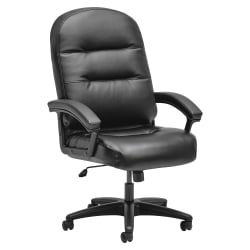 HON® Pillow-Soft® Executive Bonded Leather Chair With Fixed Loop Arms, Black