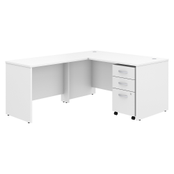 "Bush Business Furniture Studio C 60""W x 30""D L Shaped Desk with Mobile File Cabinet and 42""W Return, White, Standard Delivery"