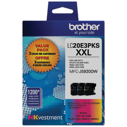 Brother Genuine LC20E3PKS Super High-Yield Color Ink, 3 Pack