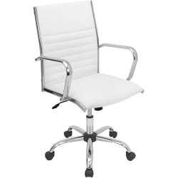 LumiSource Master Bonded Leatherette Office Chair, White/Chrome