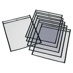 """SKILCRAFT® Transparent Poly Envelopes, 13"""" x 10"""", Clear/Black, Pack Of 25 (AbilityOne 7510-01-647-7926)"""