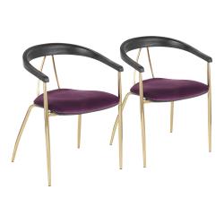 LumiSource Vanessa Chairs, Purple/Black/Gold, Set Of 2 Chairs
