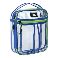 "Arctic Zone Transparent Dual Compartment Lunch Pack, 9-1/2""H x 4-1/4""W x 8""D, Blue/Green"