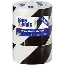 "BOX Packaging Striped Vinyl Tape, 3"" Core, 2"" x 36 Yd., Black/White, Case Of 3"