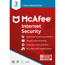 McAfee® Internet Security, For PC or Mac®, 3 Devices, 1 Year Subscription, Download