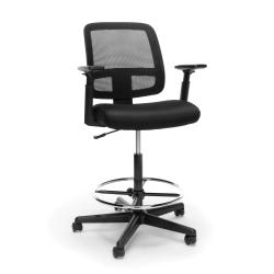 OFM Essentials Mesh-Back Task Stool, Black Seat/Black Frame, Quantity: 1