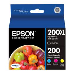 Epson® 200XL/200 DuraBrite® Ultra High-Yield Black And Cyan/Magenta/Yellow Ink Cartridges, Pack Of 4 T200XL-BCS
