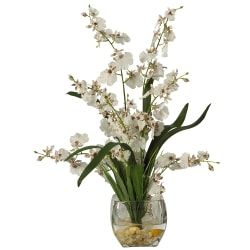 "Nearly Natural 19"" Dancing Lady Orchid, White"