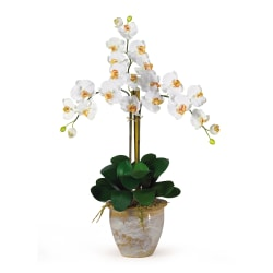 """Nearly Natural 27"""" Triple Stem Orchid With Vase, Cream"""