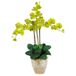 "Nearly Natural 27"" Silk Triple Stem Phalaenopsis Orchid, Green"
