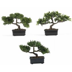 """Nearly Natural 8 1/2"""" Silk Bonsai Plant With Pot, 8 1/2""""H x 12""""W x 5""""D, Set Of 3"""
