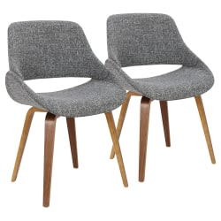 LumiSource Fabrico Chairs, Gray Noise Seat/Walnut Frame, Set Of 2 Chairs