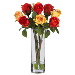 """Nearly Natural 16"""" Silk Roses With Vase, Red/Yellow"""