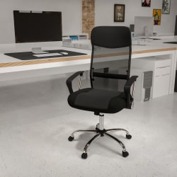 Flash Furniture Bonded Leather and Mesh High-Back Swivel Chair, Black/Silver