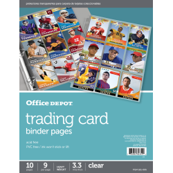 "Office Depot® Brand Trading Card Binder Pages, 8-1/2"" x 11"", Clear, Pack Of 10"