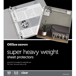 "Office Depot® Brand Super Heavyweight Sheet Protectors, 8-1/2"" x 11"", Clear, Pack Of 50"