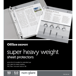 "Office Depot® Brand Super Heavyweight Sheet Protectors, 8-1/2"" x 11"", Clear, Non-Glare, Pack Of 50"