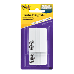"Post-it® Notes Durable Filing Tabs, 2"", White, Pad Of 50 Flags"