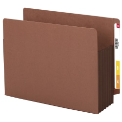 """Smead® Extra-Wide Redrope End-Tab File Pocket With Dark Brown Tyvek® Gusset, Extra Wide Letter Size, 5 1/4"""" Expansion, 30% Recycled, Box Of 10"""