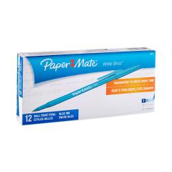 Paper Mate® Ballpoint Stick Pens, Fine Point, 0.8 mm, Blue Barrel, Blue Ink, Pack Of 12