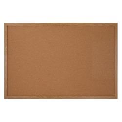 """FORAY™ Cork Bulletin Board, 36"""" x 24"""", Natural Brown, Oak Frame"""