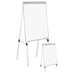 "Universal® Adjustable Dry-Erase Board, Melamine, 41"" x 29"", White, Aluminum Frame"
