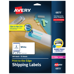 """Avery® Print-To-The-Edge Permanent Laser Shipping Labels, 6873, 2"""" x 3 3/4"""", White, Pack Of 200"""