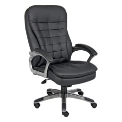 Boss Ergonomic Vinyl High-Back Chair, Black/Pewter