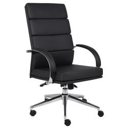 Boss Vinyl High-Back Chair, Black/Chrome