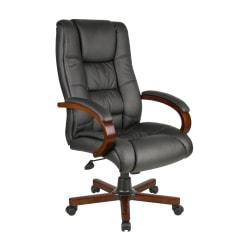 Boss Aaria Vinyl/Wood High-Back Chair, Black/Mahogany