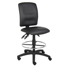 Boss Office Products Bonded LeatherPlus™ Drafting Stool, Black/Chrome