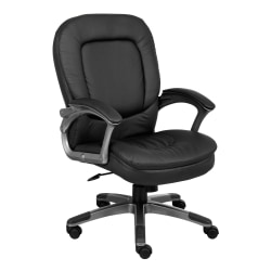 Boss Office Products Pillow-Top Vinyl Mid-Back Chair, Black/Pewter