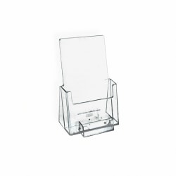 """Azar Displays Plastic Trifold Brochure Holders With Business Card Pocket, 7 1/4""""H x 4""""W x 3 3/4""""D, Clear, Pack Of 10"""