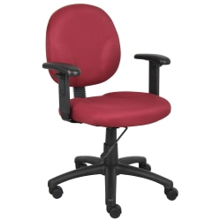 Boss Office Products Ergonomic Task Chair With Arms, Burgundy/Black