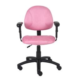Boss Microfiber Mid-Back Task Chair, Pink
