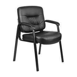 Boss Office Products Bonded LeatherPlus™ Mid-Back Guest Chair, Black