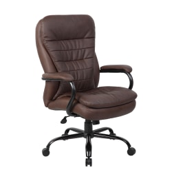 Boss Heavy-Duty Pillow-Top High-Back Chair, Bomber Brown/Silver