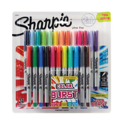 Sharpie® Color Burst Permanent Markers, Ultra-Fine Point, Assorted Colors, Pack Of 24