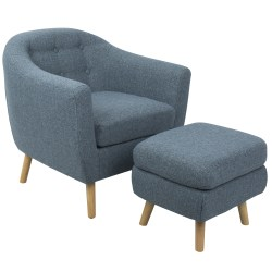 LumiSource Rockwell Accent Chair With Ottoman, Blue/Natural