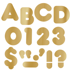 "TREND Ready Letters®, Metallic Casual, 4"" Gold, Pre-K - Grade 12, Pack Of 71"