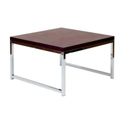 Ave Six Wall Street Table, Accent/Corner, Square, Espresso/Chrome