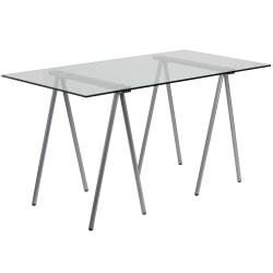 Flash Furniture Glass Computer Desk, Clear/Silver