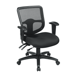 Office Star™ Pro Line II Pro Grid Ergonomic Task Chair With Adjustable Arms, Coal