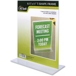 "NuDell Acrylic Standing Sign Holder, 8 1/2"" x 11"", Clear"