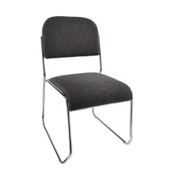 "Realspace® Sled-Base Padded Fabric Seat, Fabric Back Stacking Chair 22"" Seat Width, Black Seat/Chrome Frame, Quantity: 1"