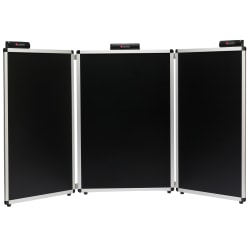 "Smead® Justick, 3-Panel Table Top Expo Display, 72""W x 36""H, with Justick Electro Surface Technology, Black (02590)"