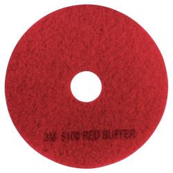"3M™ 5100 Buffer Floor Pads, 12"" Diameter, Red, Box Of 5"