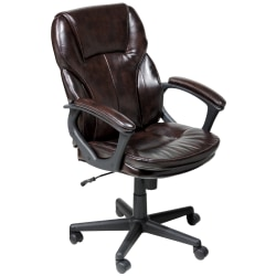 Serta® Puresoft™ Bonded Leather Manager Office Chair, Roasted Chestnut Brown