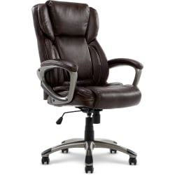 Serta® Executive Office Bonded Leather High-Back Chair, Biscuit Brown/Silver