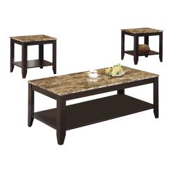Monarch Specialties 3-Piece Marble-Top Table Set, Rectangle, Cappuccino